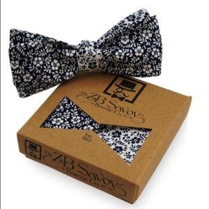 ZB Savoy Navy Floral Bow Tie & Pocket Square Set